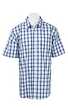 Wrangler Men's Blue and White Plaid S/S Western Shirt MWR333M