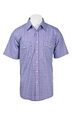 Wrangler Men's Purple and Blue Plaid S/S Western Shirt MWR334M