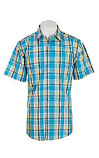 Wrangler Men's Green and Blue Plaid Short Sleeve Western Snap Shirt