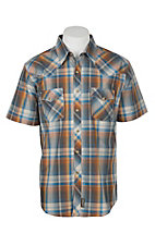 Wrangler Men's Red and Navy Plaid S/S Western Snap Shirt