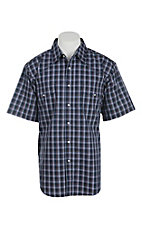 Wrangler Men's Navy and White Plaid L/S Western Snap Shirt
