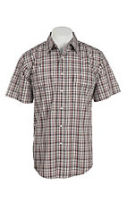 Wrangler Men's Brown Plaid Short Sleeve Western Snap Shirt