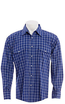 Wrangler Men's Navy Blue Plaid Wrinkle Resistant Long Sleeve Western Snap Shirt