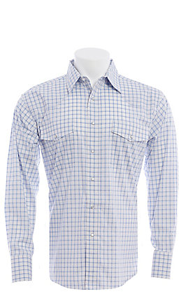 Wrangler Men's White and Blue Plaid Long Sleeve Western Snap Shirt