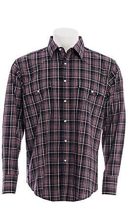 Wrangler Men's Black and Red Plaid Wrinkle Resist Long Sleeve Western Shirt