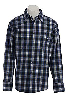 Wrangler Men's Wrinkle Resist Blue Plaid Long Sleeve Western Shirt