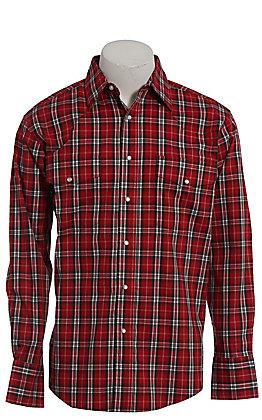 Wrangler Men's Wrinkle Resist Red & Black Plaid Long Sleeve Western Shirt