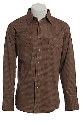 Wrangler Men's Wrinkle Resist Tan Plaid Long Sleeve Western Shirt
