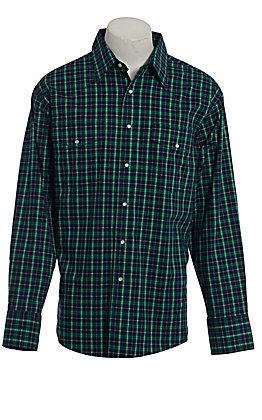 Wrangler Men's Wrinkle Resist Green Plaid Long Sleeve Western Shirt