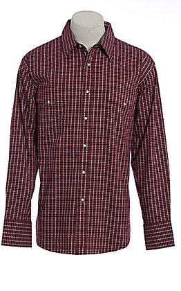 Wrangler Men's Wrinkle Resist Red Plaid Long Sleeve Western Shirt