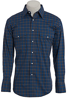 Wrangler Men's Wrinkle Resist Blue Plaid Long Sleeve Western Shirt