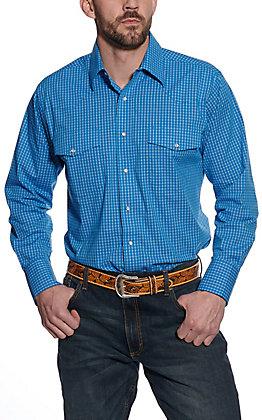 Wrangler Men's Blue Mini Plaid Long Sleeve Western Shirt