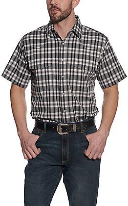 Wrangler Men's Grey & Black Plaid Short Sleeve Western Shirt