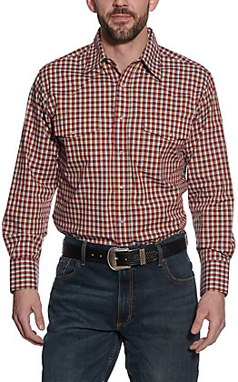 Wrangler Men's Red and Tan Mini Plaid Long Sleeve Western Shirt