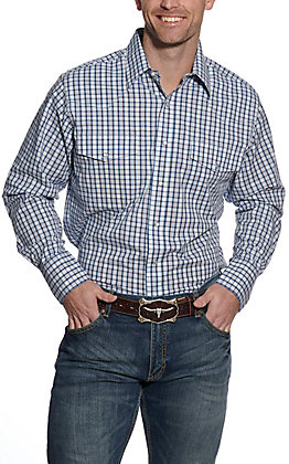 Wrangler Men's Blue and White Plaid Long Sleeve Western Shirt