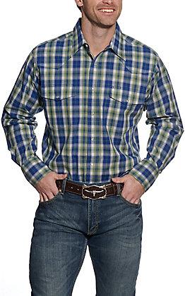Wrangler Men's Navy and Green Plaid Long Sleeve Western Shirt
