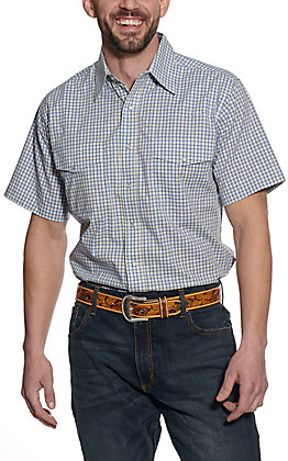 Wrangler Men's Blue Mini Plaid Short Sleeve Western Shirt