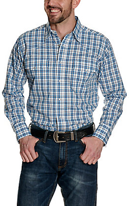 Wrangler Men's White and Blue Plaid Wrinkle Resistant Stretch Long Sleeve Western Shirt