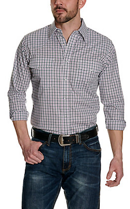 Wrangler Men's White with Navy and Pink Plaid Wrinkle Resistant Stretch Long Sleeve Western Shirt