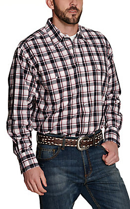 Wrangler Men's White, Black and Red Plaid Wrinkle Resistant Stretch Long Sleeve Western Shirt