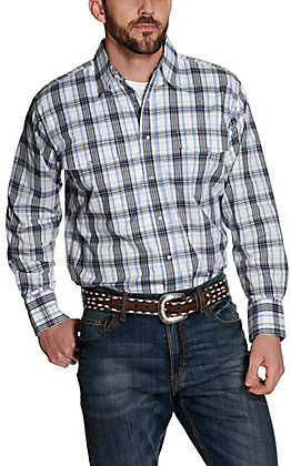 Wrangler Men's White, Blue and Tan Plaid Wrinkle Resistant Stretch Long Sleeve Western Shirt