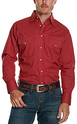 Wrangler Men's Red with White Grid Print Wrinkle Resistant Stretch Long Sleeve Western Shirt