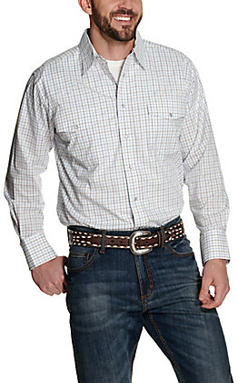 Wrangler Men's White with Blue and Black Grid Print Wrinkle Resistant Stretch Long Sleeve Western Shirt