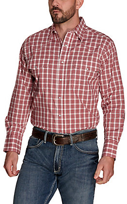 Wrangler Men's Burgundy and White Plaid Wrinkle Resistant Long Sleeve Western Shirt