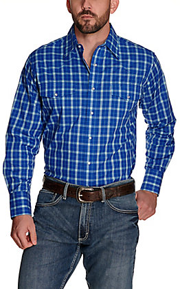Wrangler Men's Blue with Turquoise and White Plaid Wrinkle Resistant Long Sleeve Western Shirt