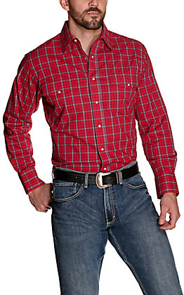 Wrangler Men's Red with Navy and White Plaid Wrinkle Resistant Long Sleeve Western Shirt