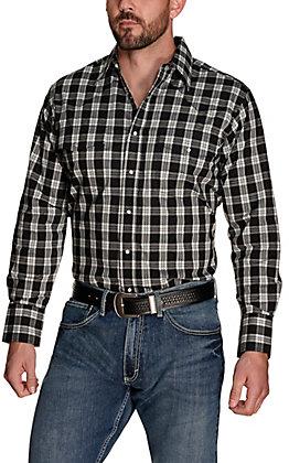 Wrangler Men's Black and White Plaid Wrinkle Resistant Long Sleeve Western Shirt
