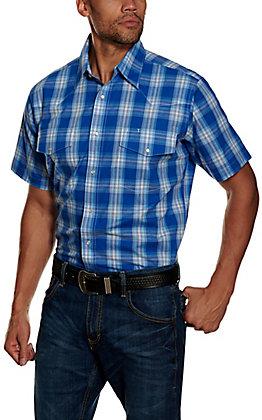 Wrangler Men's Blue Plaid Wrinkle Resistant Stretch Short Sleeve Western Shirt