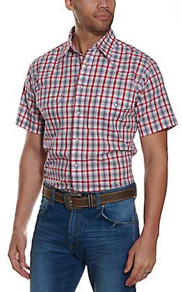 Wrangler Men's Red Plaid Wrinkle Resistant Stretch Long Sleeve Western Shirt