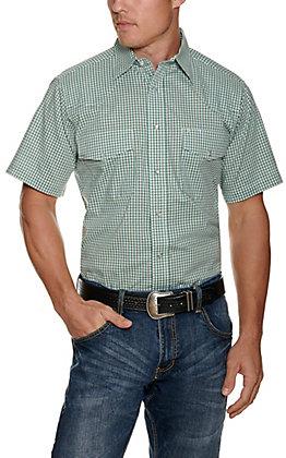 Wrangler Men's Green Plaid Wrinkle Resistant Stretch Short Sleeve Western Shirt