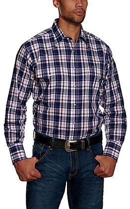 Wrangler Men's Purple Plaid Wrinkle Resistant Stretch Long Sleeve Western Shirt