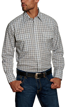 Wrangler Men's Black Plaid Wrinkle Resistant Stretch Long Sleeve Western Shirt