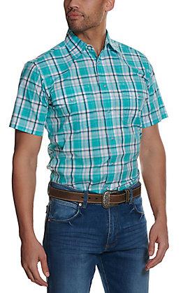 Wrangler Men's Teal and White Plaid Wrinkle Resistant Long Sleeve Western Shirt