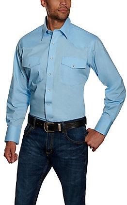 Wrangler Men's Blue Solid Wrinkle Resistant Stretch Long Sleeve Western Shirt