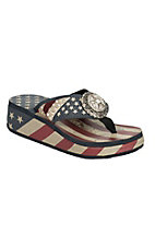 Montana West Women's USA Flag with Star Concho & Rhinestones Wedge Flip Flops