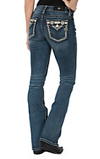 Miss Me Women's Dark Wash Zig Zag Stitch Flap Pocket Mid Rise Boot Cut Jeans