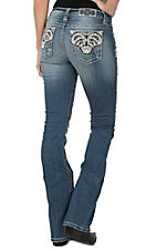 Miss Me Women's Medium Wash Paisley Pocket Mid Rise Boot Cut Jeans