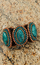 Pannee Teal Oval Stone with Crystal Beaded Border Chocolate Silk Threaded Rope Bracelet