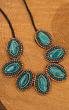Pannee Teal Oval Stone with Crystal Beaded Border Chocolate Silk Threaded Rope Necklace