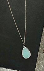 West & Co. Silver with Turquoise Teardrop Pendant Necklace