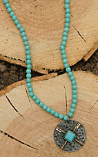 West & Co Turquoise Beaded with Round Arrow and Turquiose Charm Necklace