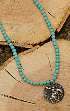 West & Co. Turquoise Beaded with Round Bronco Charm Necklace