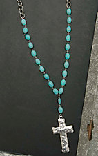 West & Co. Turquiose Beaded with Hammered Cross Pendant Necklace