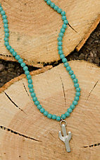 West & Co. Turquoise Beaded with Cactus Charm Necklace