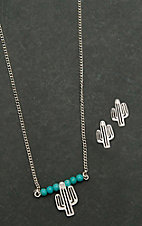 West & Co. Silver with Turquoise Accents and Cactus Pendant Necklace and Earrings Jewelry Set