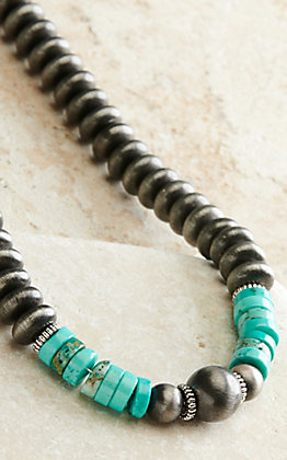 West & Co Flat Navajo and Turquoise Beaded Necklace